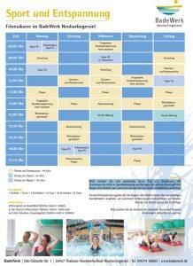 Fitnessplan BadeWerk ab Oktober 2021